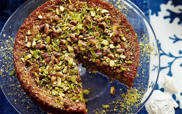 Pistachio, cardamom and olive oil cake