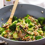 Stir Fried Job's Tears with Mushroom and Broccoli