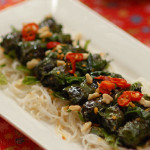 Beef and lemongrass wrapped in betel leaf