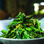 Water spinach tossed with ginger and preserved bean curd
