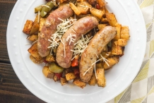 Fennel-sausage-with-potato,-pepper-&-onions