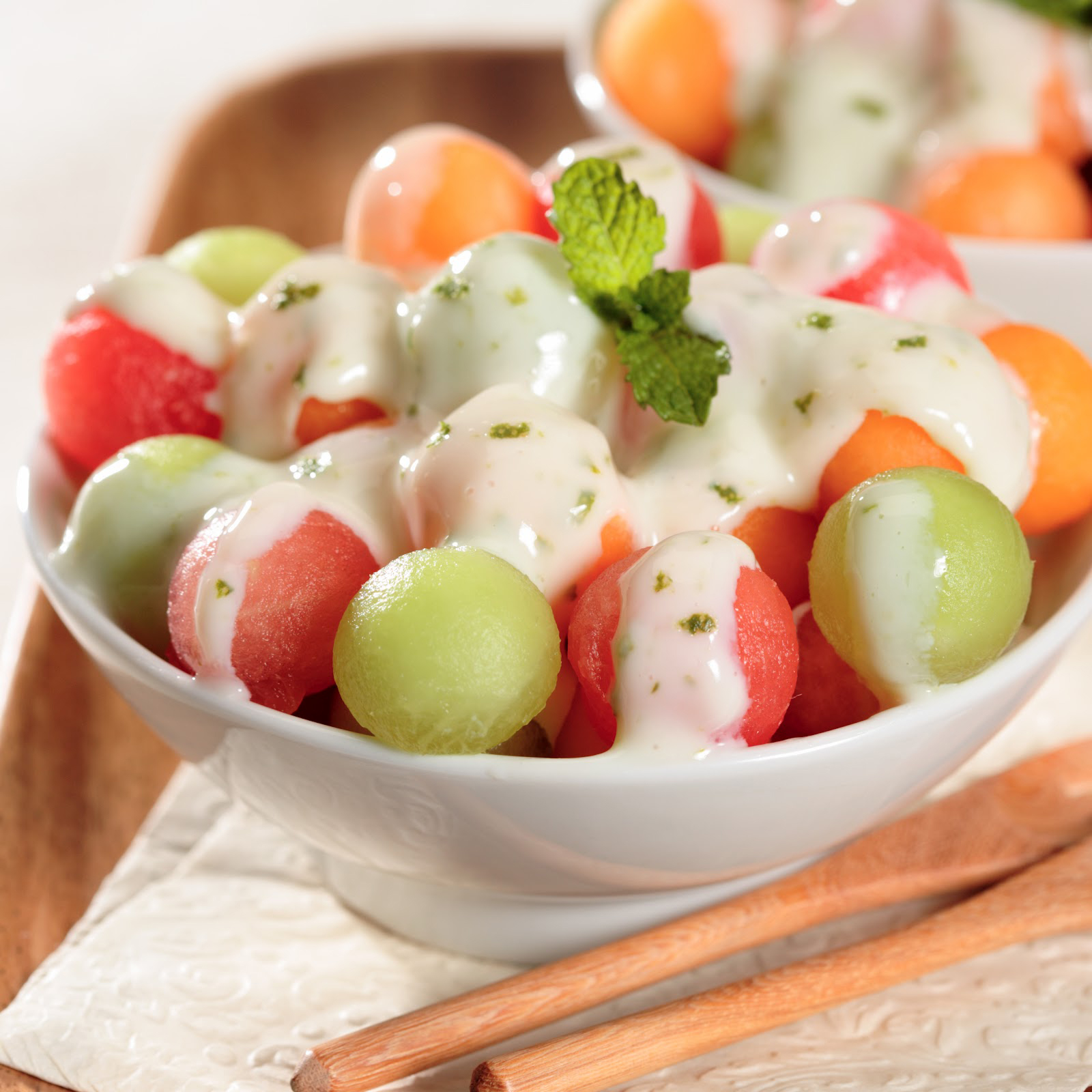 Melon-balls-with-Tangy-La-Lechera-Sauce