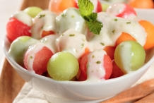 Melon-balls-with-Tangy-La-Lechera-Sauce