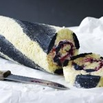 Blackcurrant and liquorice Swiss roll
