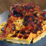 Citrus jerk chicken with cornmeal waffles