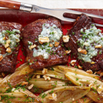 Sear-Roasted Skirt Steak with Endive and Blue Cheese
