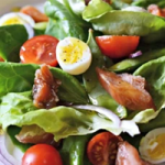 Butter Leaf Lettuce, Candied Salmon and Quail Egg Salad