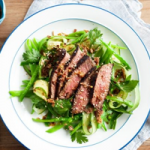 Five-spice lamb with snow pea salad