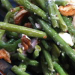 Green Beans, toasted Pecans and Blue Cheese