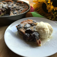 French Clafoutis black cherry dessert