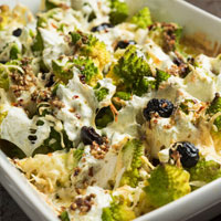 Baked Romanesco Broccoli with Mozzarella and Olive