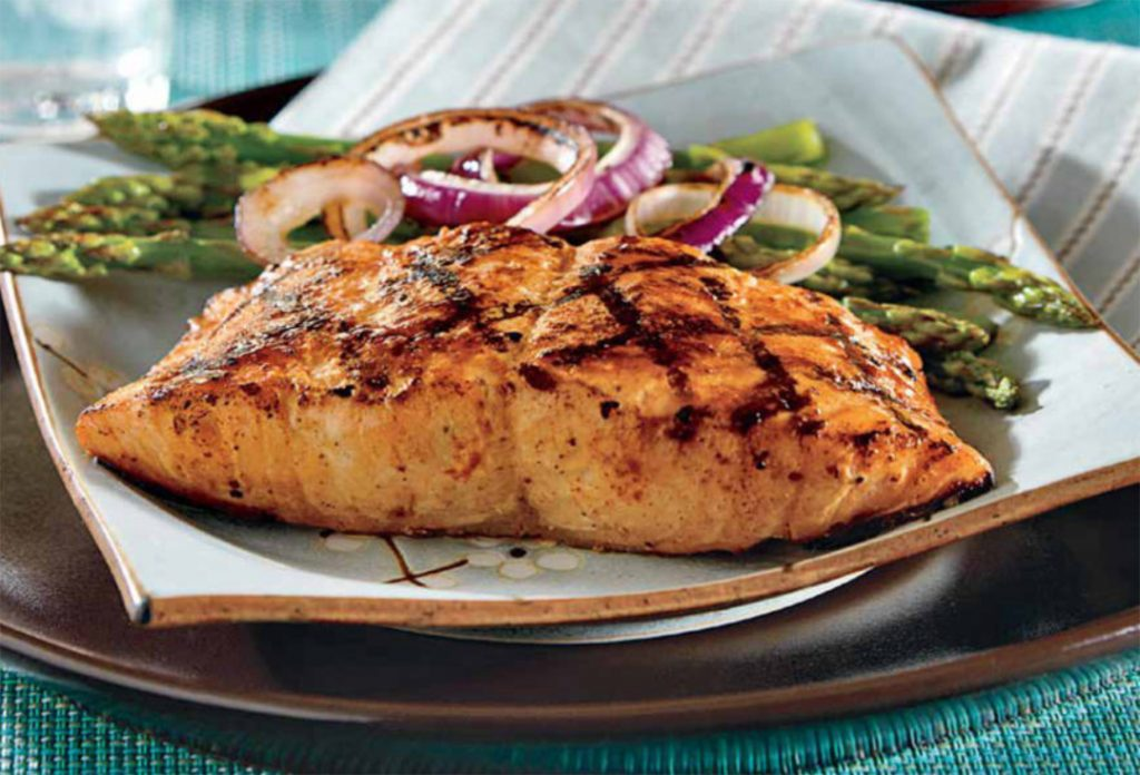 Grilled Salmon Fillets Asparagus And Onions Recipe